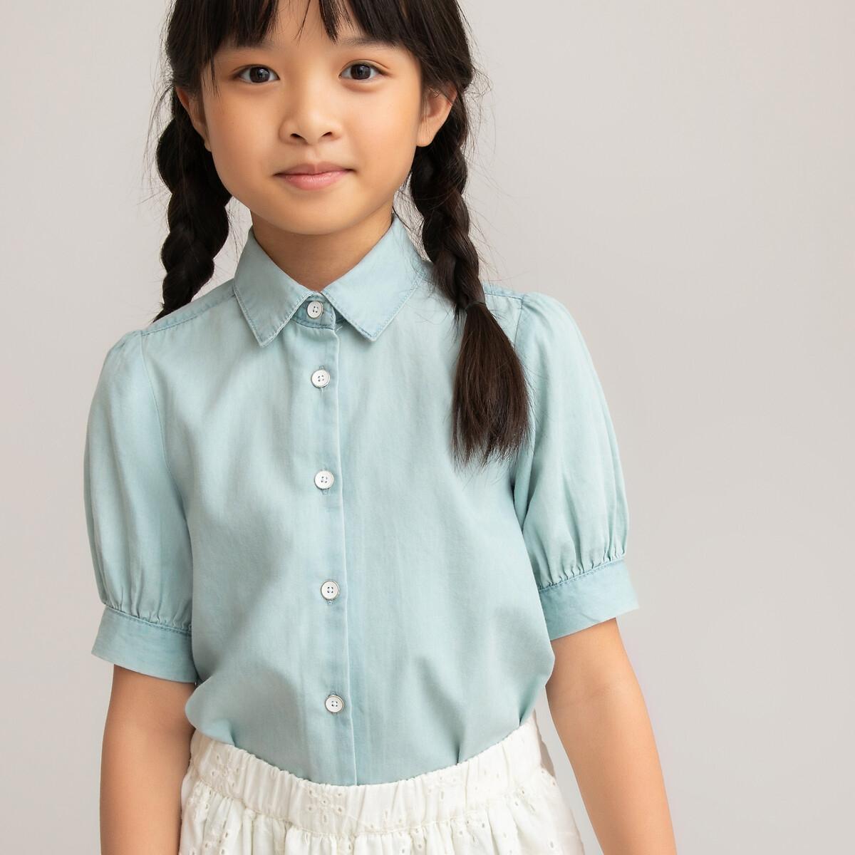 Блузка LaRedoute С короткими рукавами из легкого денима 3-12 лет 4 года - 102 см синий