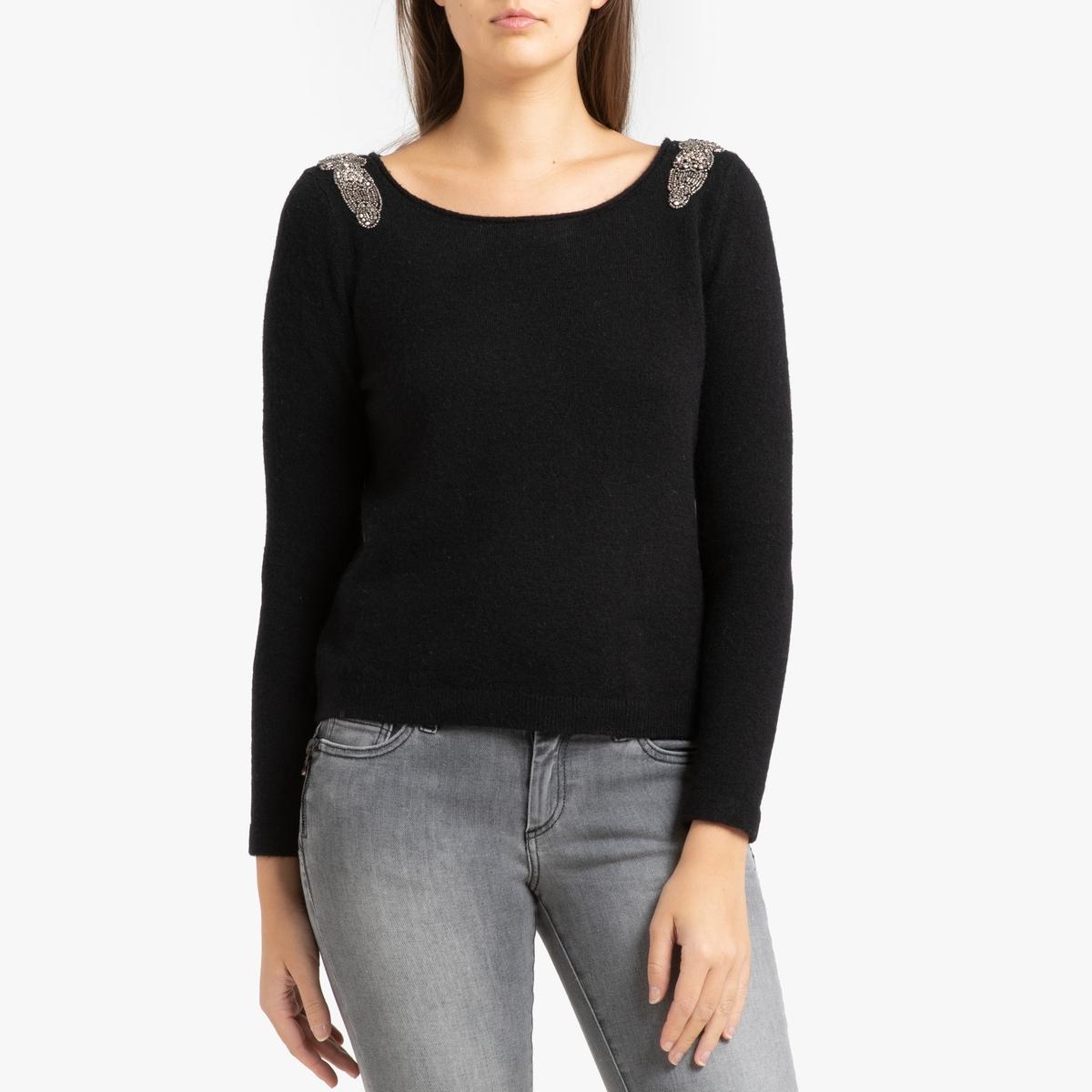 Пуловер La Redoute Из трикотажа с бусинами на плечах XS черный цена