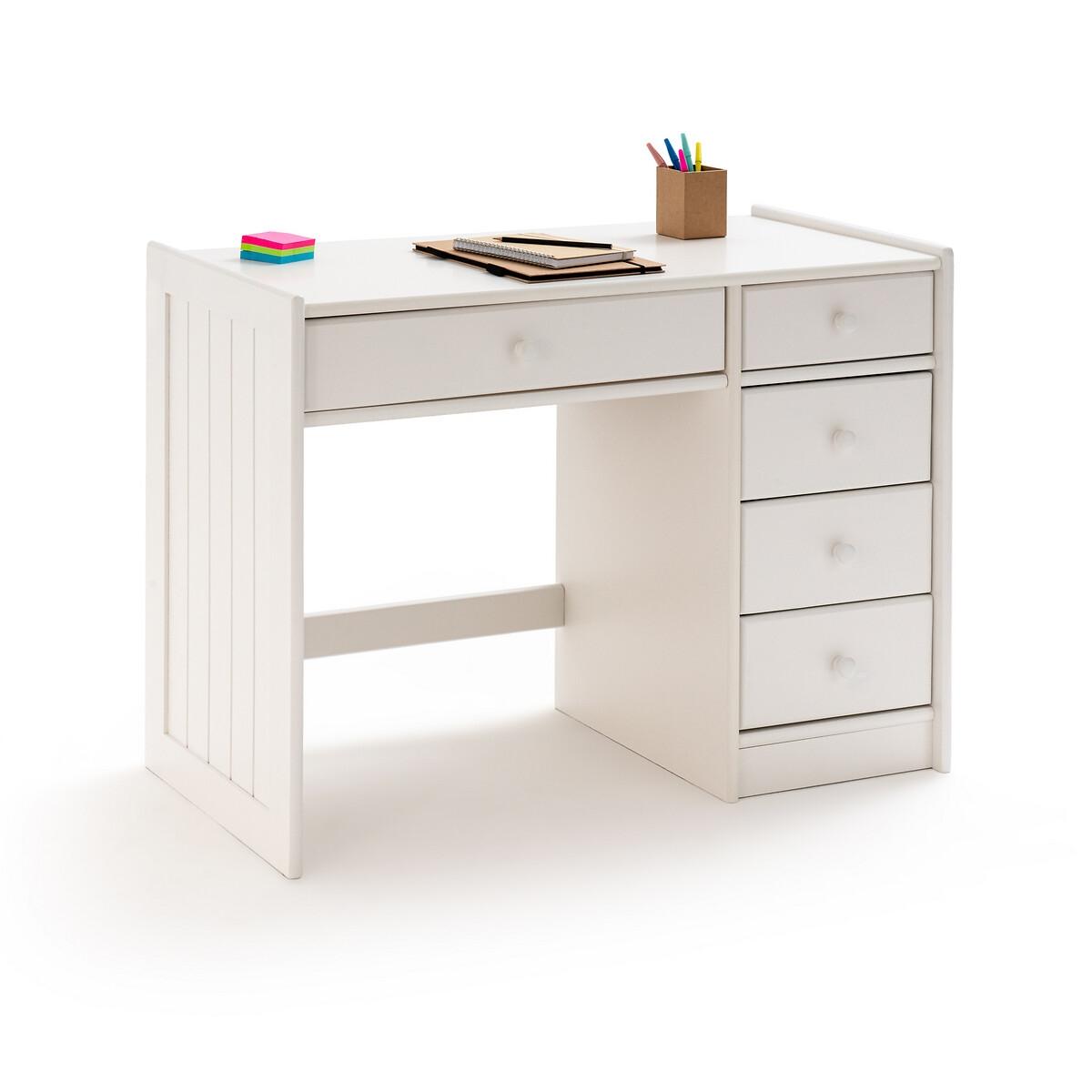 Стол LaRedoute Письменный из массива сосны Gaby единый размер белый