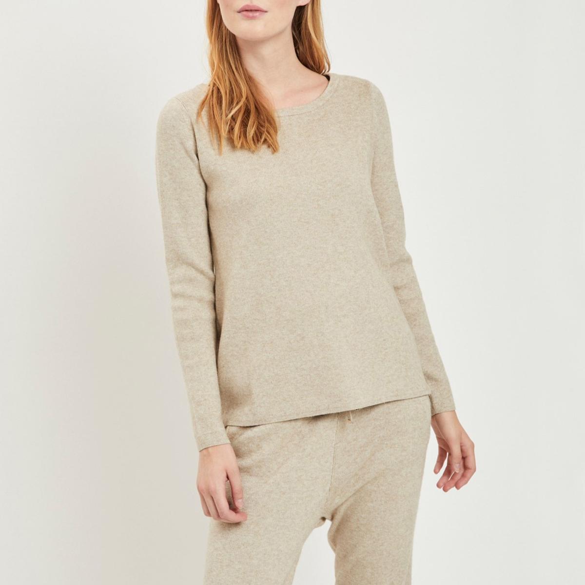 Пуловер La Redoute С круглым вырезом и застежкой на молнию по бокам XS бежевый lbellagiovanna redfushia белый бежевый xs