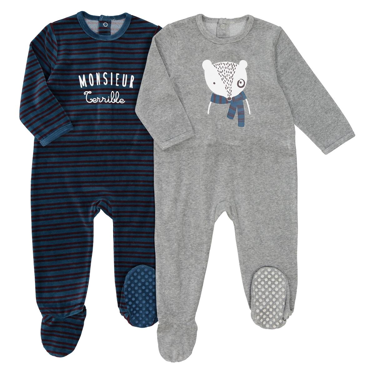 Комплект из цельных пижам La Redoute С рисунком из велюра - года 3 года - 94 см синий комплект из 2 пижам с рисунком лама из хлопка 0 мес 3 года
