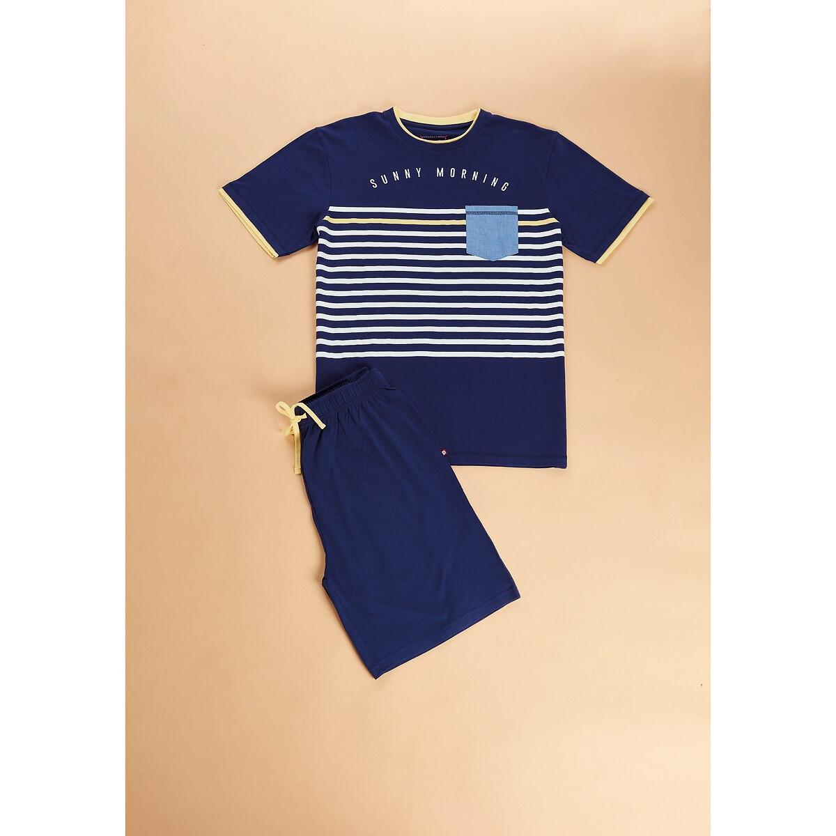 Фото - Пижама LaRedoute С шортами в полоску XXL синий пижама laredoute с шортами в полоску m синий