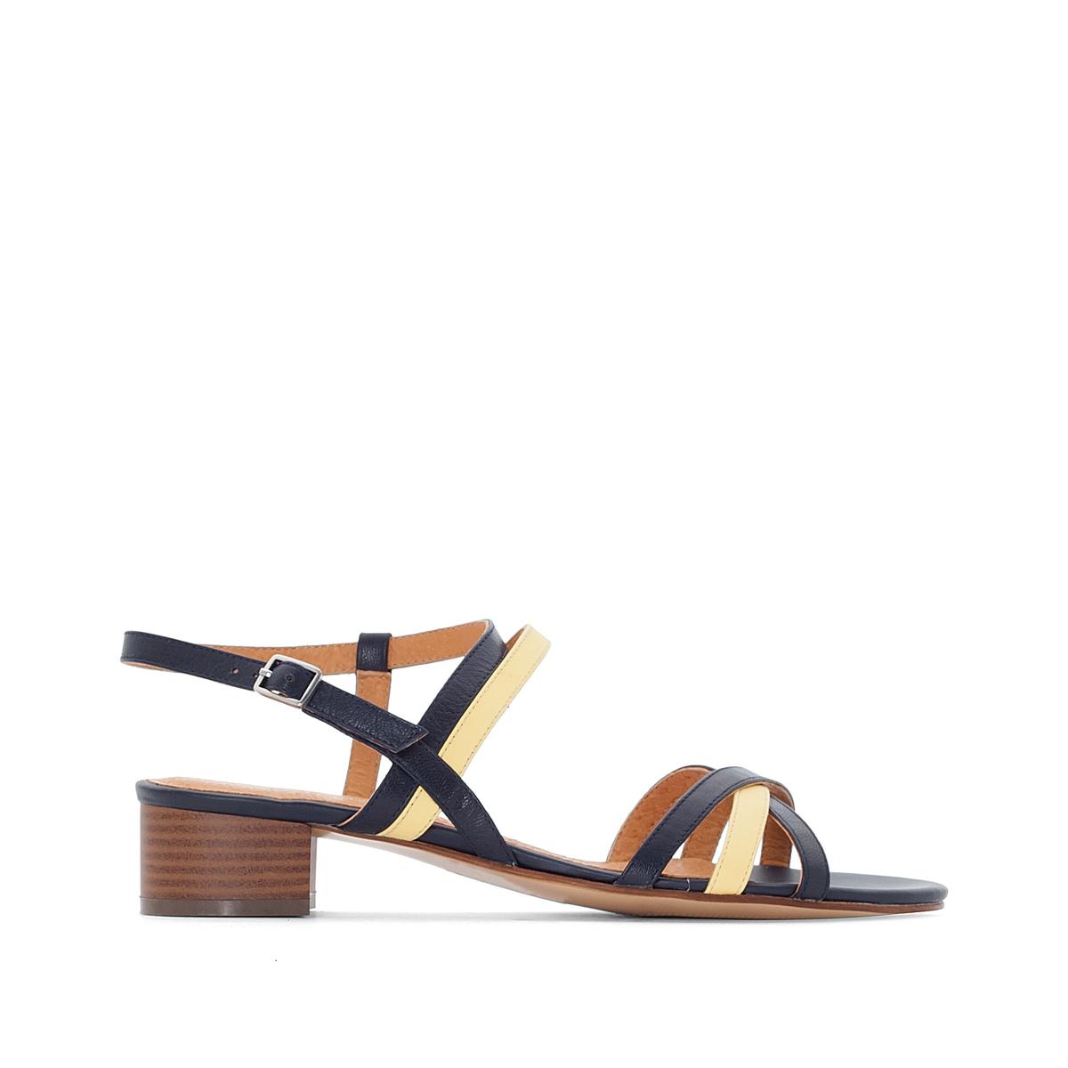 Босоножки кожаные двухцветные на среднем каблуке босоножки beira rio босоножки на каблуке