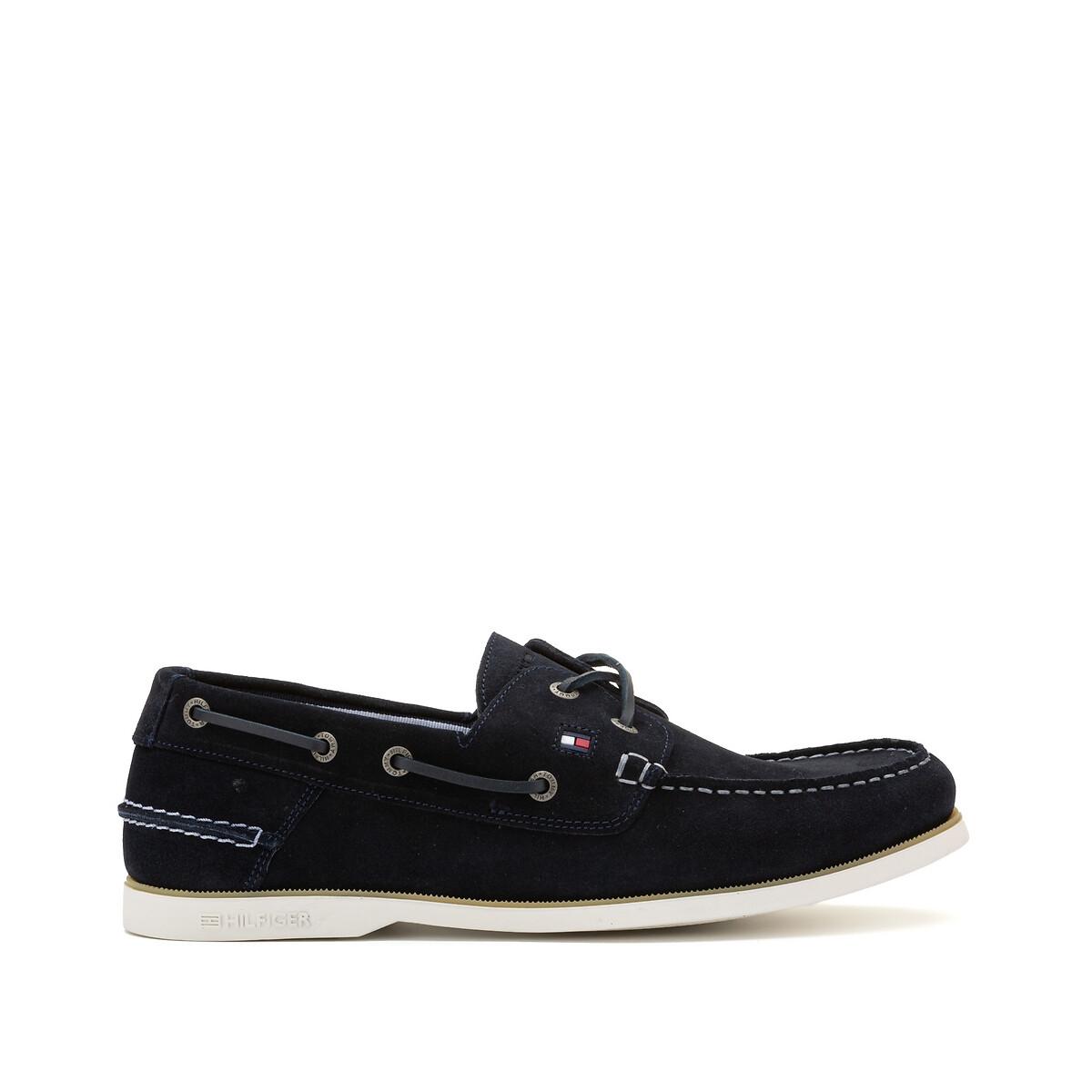 Tommy Jeans Tommy Hilfiger Suède bootschoenen met veters en vlaglogo in marineblauw online kopen
