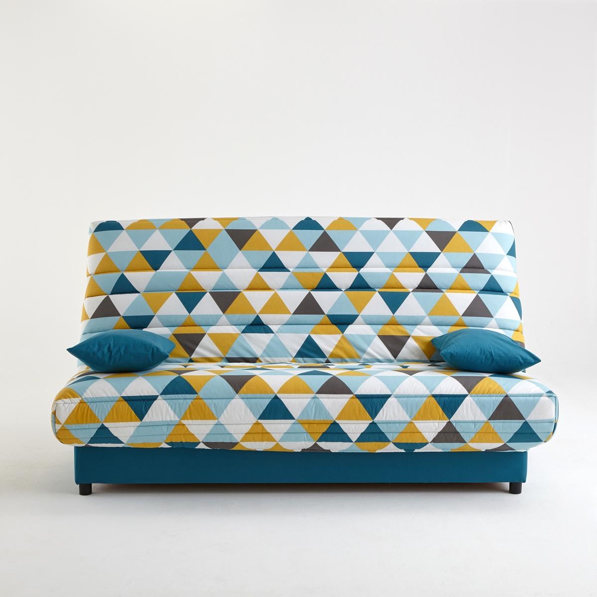 Чехол стеганый для дивана-книжки и складной тумбы, 250 г/м?Чехол для дивана-книжки, усовершенствованная модель : Для дивана-книжки и складной тумбы, позволит продлить срок службы вашей мебели  !Сделано в Европе. Описание :- Стеганый чехол с наполнителем из полиэстера (250 г/м?)- На резинке.- Поставляется в комплекте с 2 чехлами на подушку-валик и лентой для складной тумбыОбивка :- Однотонная расцветка : 100% хлопок, пропитка от пятен (250 г/м?)- Расцветка с рисунком : 50% хлопка, 50% полиэстера- Меланжевая расцветка : 100% полиэстер- Предоставляем бесплатные образцы материала : Введите примеры дивана-книжки в поисковой системе на сайте laredoute.ruОткройте для себя другие модели чехлов на сайте laredoute.ruРазмеры чехла :3 варианта ширины :Ширина : 120 смШирина : 130 см.Ширина : 140 см.Размер подушки : Ш.50 x В.40 x Г.12 см<br><br>Цвет: рисунок из треугольников