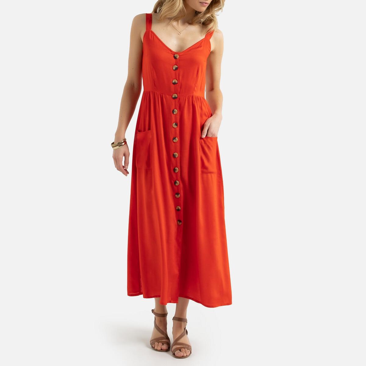 Платье La Redoute Длинное струящееся на тонких бретелях 48 (FR) - 54 (RUS) оранжевый