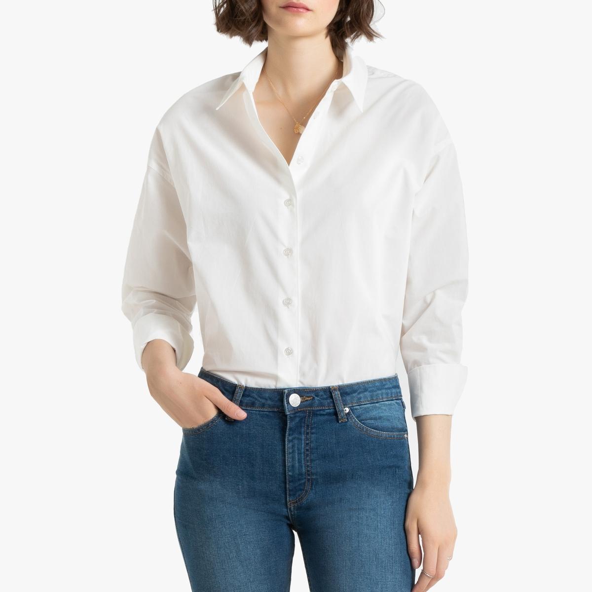 Camisa de popelina de algodón, de manga larga