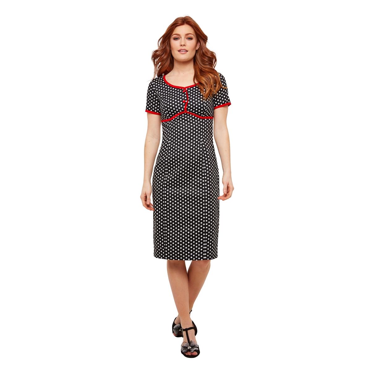 Платье La Redoute В горошек прямое с короткими рукавами 42 (FR) - 48 (RUS) черный платье la redoute короткое прямое с короткими рукавами 42 fr 48 rus черный