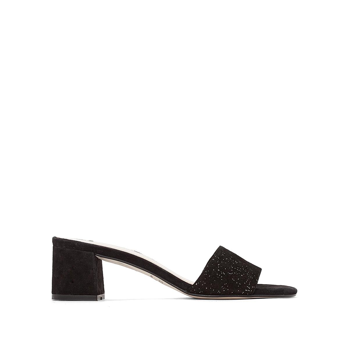 Туфли без задника кожаные на каблуке