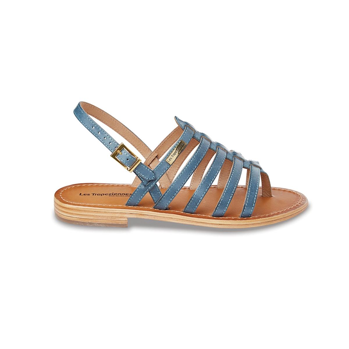 Босоножки кожаные с перемычкой между пальцами HeriberВерх : кожа   Подкладка : кожа   Стелька : кожа   Подошва : кожа.   Высота каблука : 1 см   Форма каблука : плоский каблук   Мысок : открытый мысок   Застежка : пряжка<br><br>Цвет: синий<br>Размер: 37