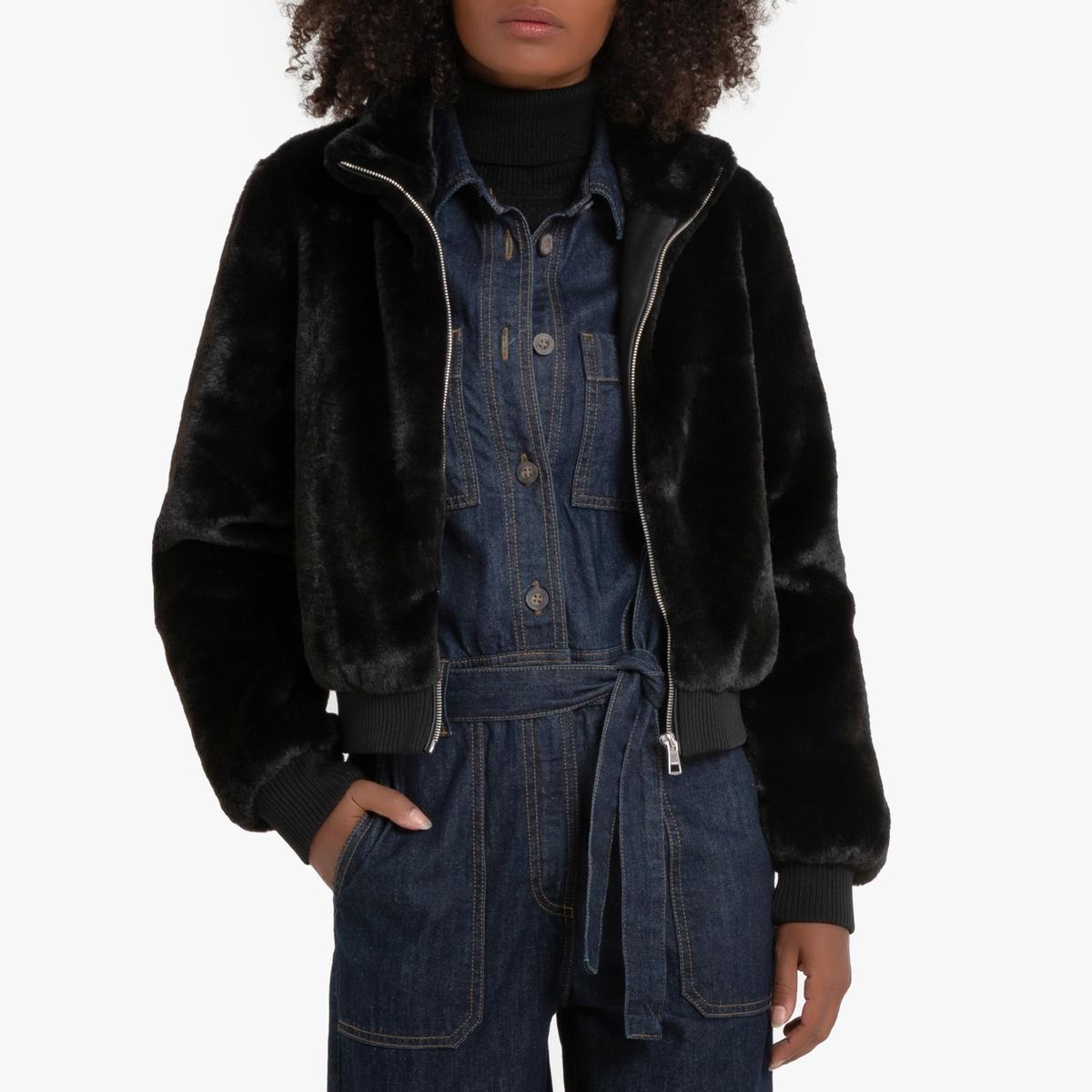 Куртка La Redoute Короткая с воротником-стойкой из искусственного меха M черный куртка la redoute стеганая короткая nebraska с воротником стойкой на молнии s синий