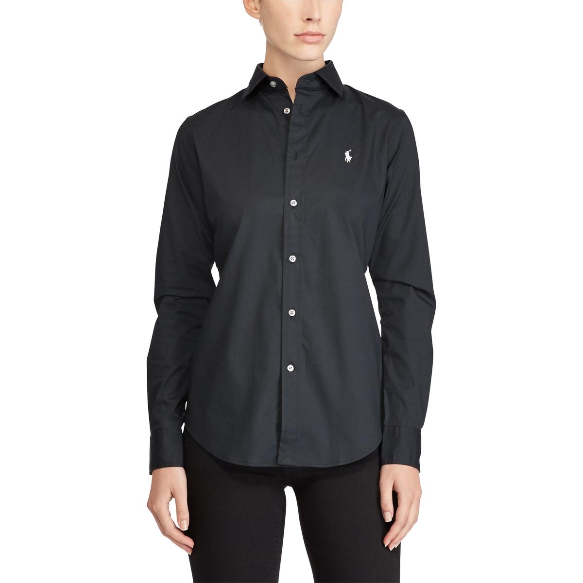 Фото - Рубашка LaRedoute Из поплина с длинными рукавами 40 (FR) - 46 (RUS) черный рубашка однотонная с длинными рукавами