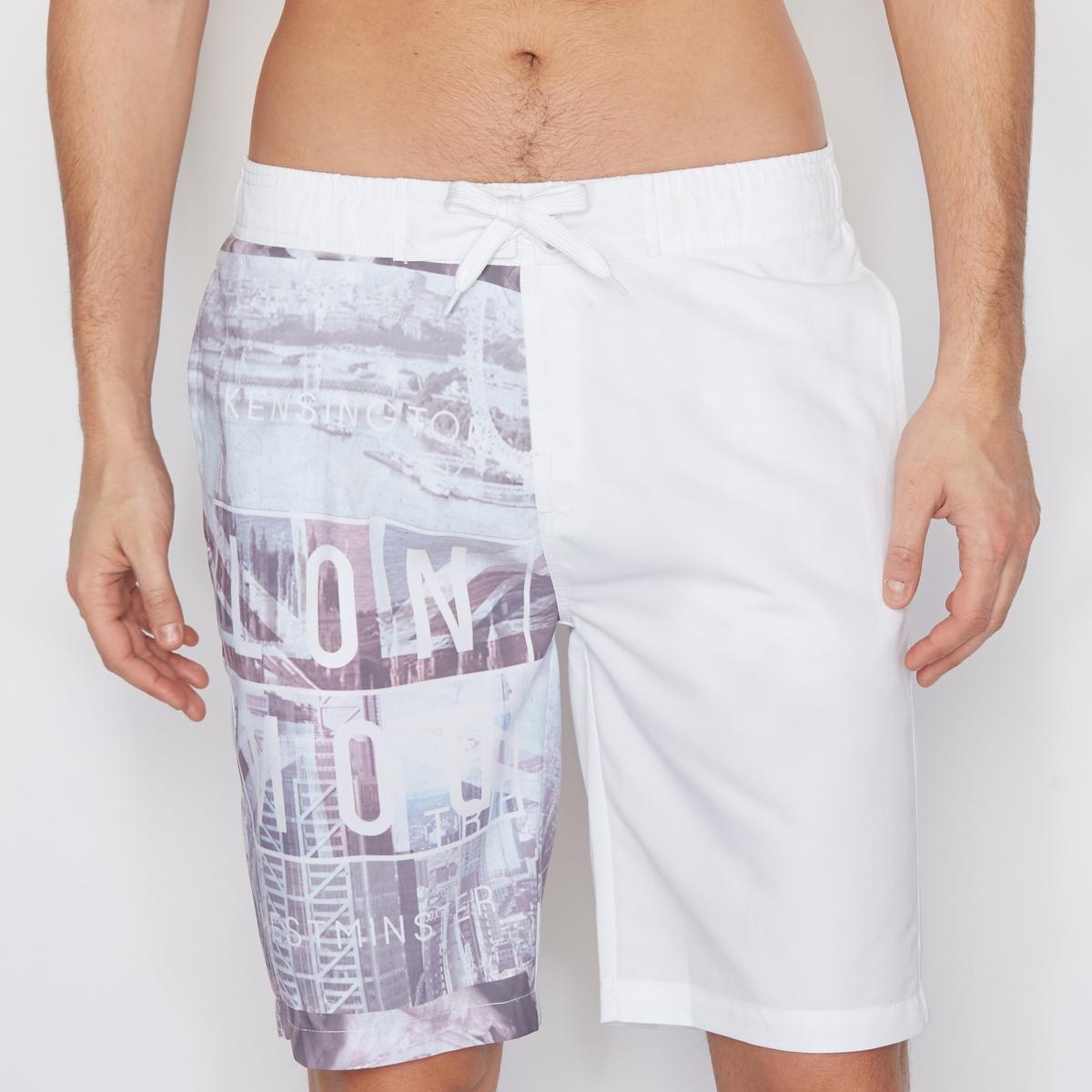 Шорты для плаванияШорты для плавания с рисунком на одной штанине .  Эластичный пояс с завязками. 2 боковых кармана и один задний карман .Состав и описание :Материал : 100% полиэстера<br><br>Цвет: белый наб.рисунок<br>Размер: XL.XS