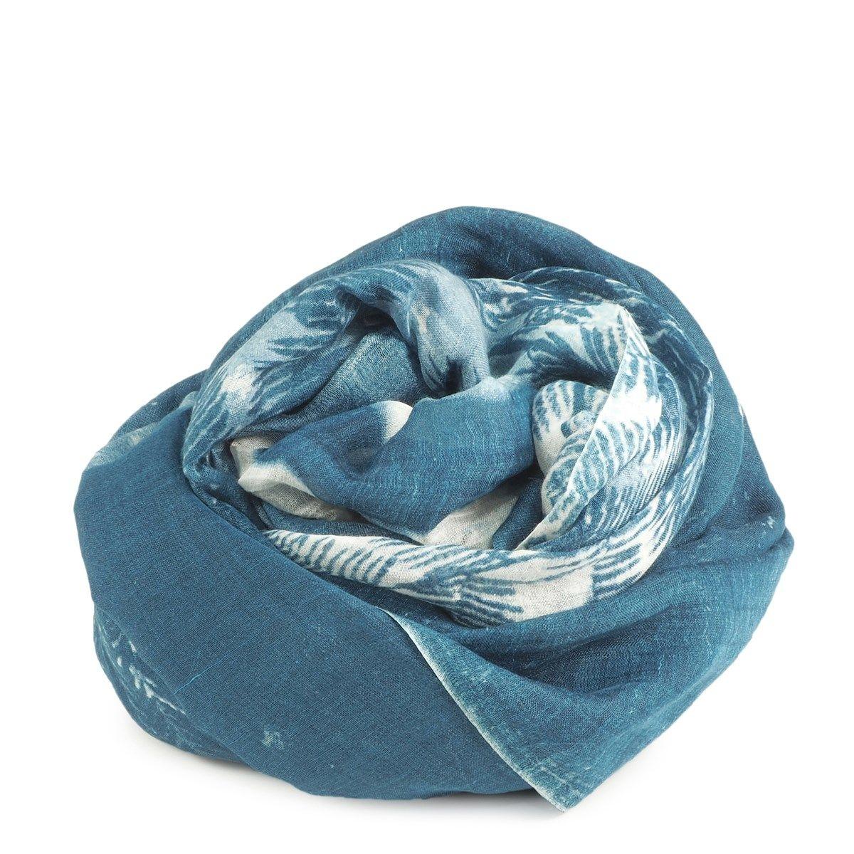FOULARD soie et coton motif Fougères boliviennes