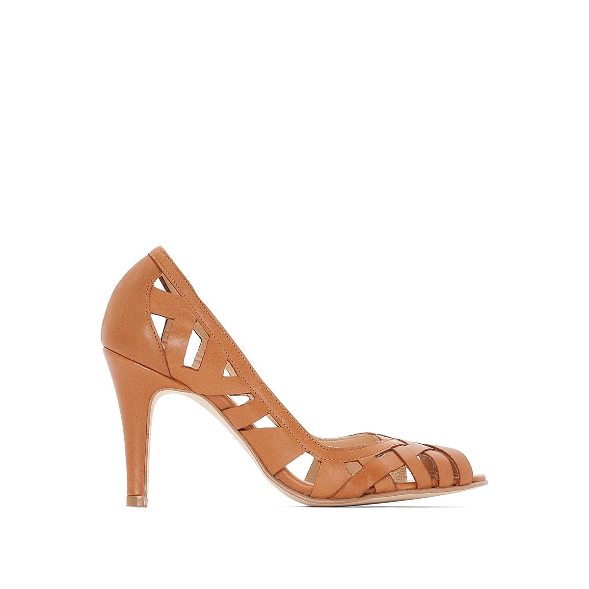 Туфли кожаные DjenyВерх : Кожа.   Подкладка : Кожа.   Стелька : Кожа.   Подошва : эластомер   Высота каблука : 8 см   Форма каблука : шпилька   Мысок : закругленный   Застежка : без застежки<br><br>Цвет: коньячный<br>Размер: 39