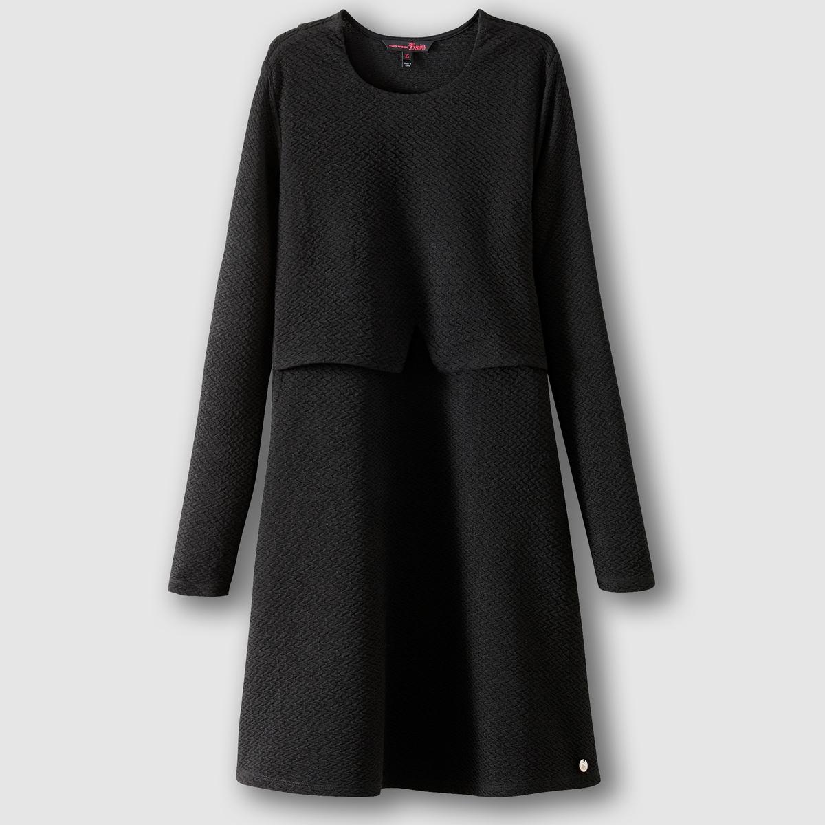 Платье с длинными рукавамиПлатье с длинными рукавами TOM TAILOR. Платье слегка расширяющегося к низу покроя. Плиссированный эффект. Эффект наложения вверху спереди. Круглый вырез. Нашивка с логотипом марки внизу. Состав и описание :Материал : 100% полиэстерМарка : TOM TAILOR<br><br>Цвет: черный<br>Размер: L.M