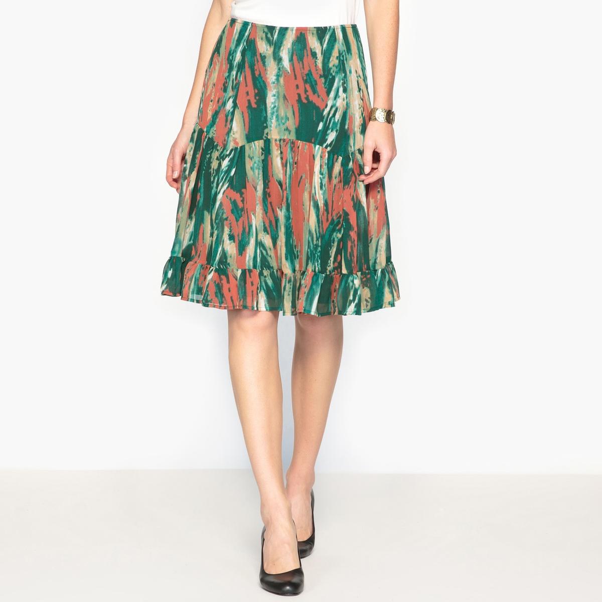 Юбка с рисунком из жатого крепа платье с воланом из жатого крепа