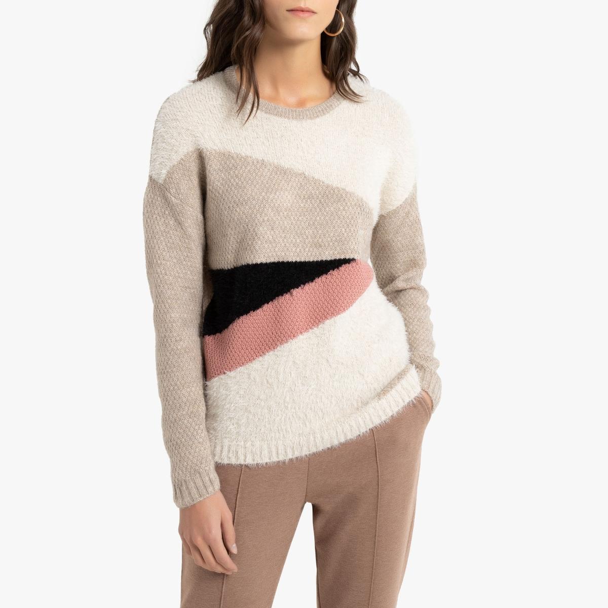 Пуловер La Redoute С круглым вырезом из плотного трикотажа 50/52 (FR) - 56/58 (RUS) бежевый пуловер la redoute с круглым вырезом из плотного трикотажа 3xl бежевый