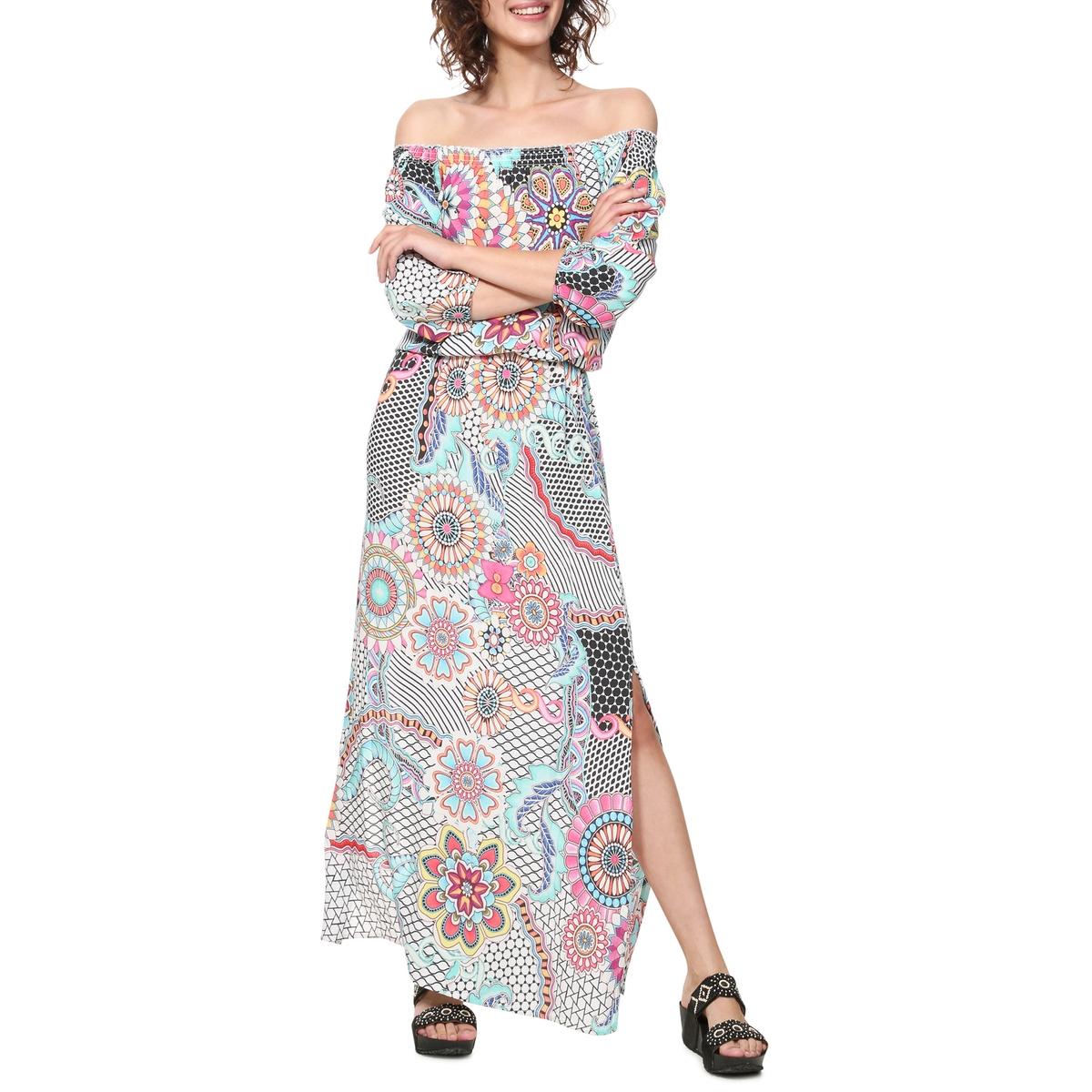 Платье La Redoute Длинное с графическим рисунком Dera 36 (FR) - 42 (RUS) белый цена и фото