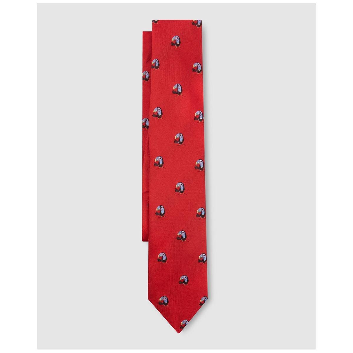 Cravate en soie imprimé toucans /