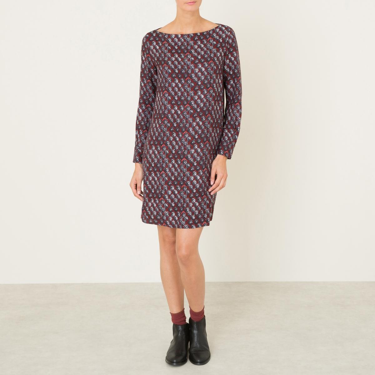 Платье MARTAКороткое платье DIEGA - модель MARTA, форма футляр, из шелковой ткани со сплошным рисунком. Вырез-лодочка. Длинные рукава с манжетами на пуговицах.Состав и описание :Материал : 65% вискозы, 35% шелкаДлина : 90 см. (для размера 36)Марка : DIEGA<br><br>Цвет: темно-синий/ красный