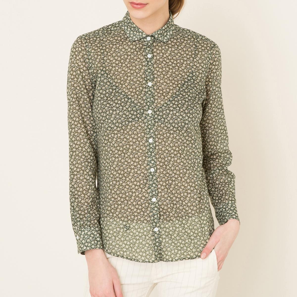 Рубашка с рисункомРубашка HARTFORD - из хлопковой вуали, сплошной рисунок. Рубашечный воротник со свободными уголками. Планка спереди и манжеты с застежкой на пуговицы. Длинные рукава. Закругленный низ.Состав и описание Материал : 100% хлопокМарка : HARTFORD<br><br>Цвет: хаки