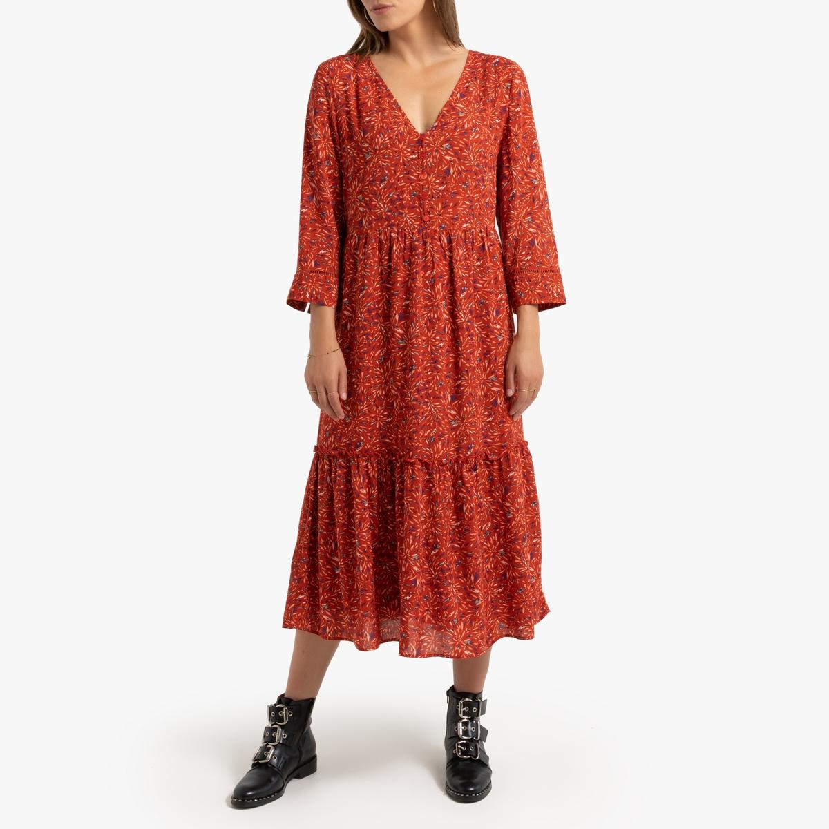 Платье La Redoute С длинными рукавами с графическим принтом 34 (FR) - 40 (RUS) красный рубашка la redoute струящаяся с цветочным принтом и длинными рукавами 34 fr 40 rus фиолетовый