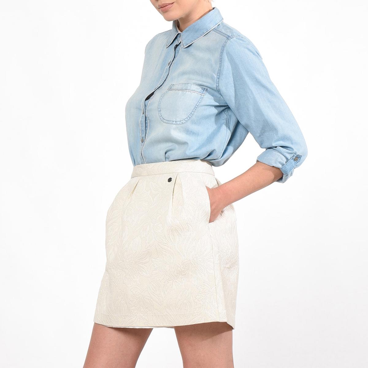 Юбка короткая плиссированная, CROPSКороткая юбка CROPS от KAPORAL. Юбка прямого покроя, складки на поясе. Сплошной оригинальный рисунок в тон. 2 косых кармана по бокам.Состав и описаниеМарка :  KAPORALМодель : CROPSМатериал : 65% полиэстера, 26% хлопка, 9% волокон с металлическим блескомУходМашинная стирка при 30 °CСтирать с вещами схожих цветов<br><br>Цвет: белый<br>Размер: L