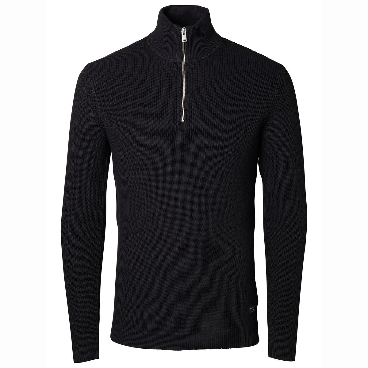 Пуловер с высоким воротником - BonnСостав и описание:Материал: 100% чесаного хлопка.Марка: SELECTED HOMME.<br><br>Цвет: темно-синий
