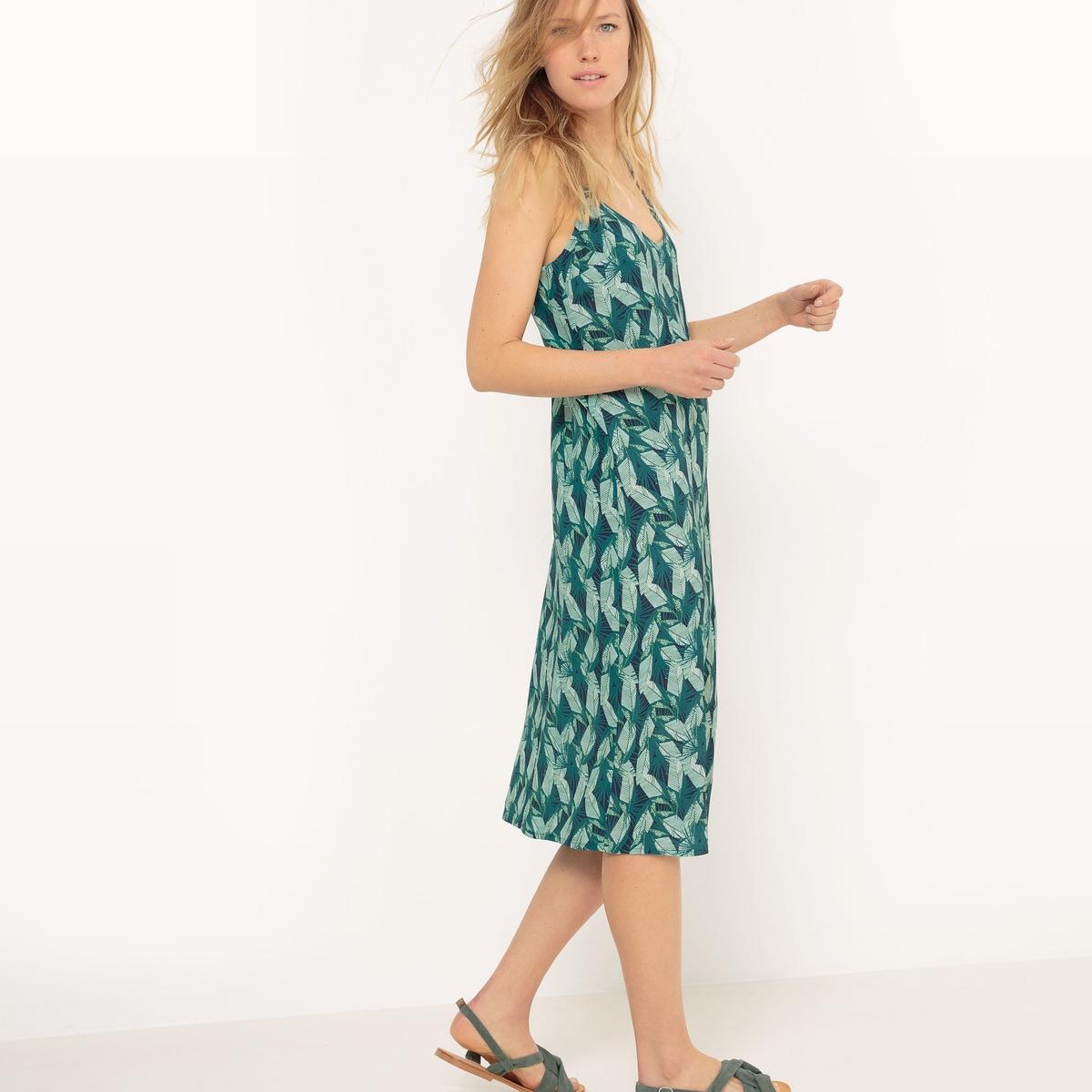 Платье длинное из крепа с принтом листья