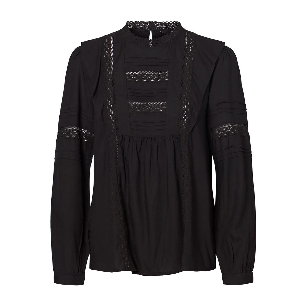 Блузка La Redoute С воротником-стойка и вышивкой M черный комбинезон la redoute с вышивкой без рукавов m черный