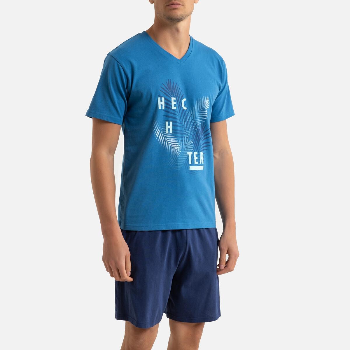 Фото - Пижама LaRedoute С шортами L синий футболка laredoute из льна с v образным вырезом и короткими рукавами s черный