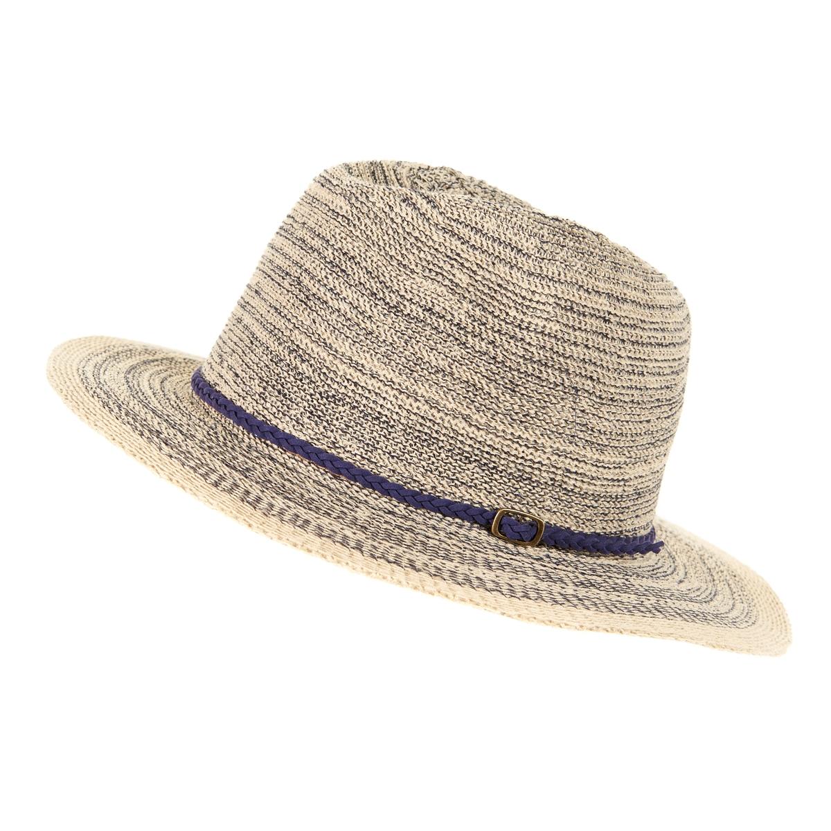 ШляпаОписание:Модная шляпа : выполнена в духе современных тенденций, украшена тонким ремешком-косичкой с пряжкой.Состав и описание : •  Материал : 63%хлопка, 27%полиэстера •  Пояс : обхват головы 56см<br><br>Цвет: синий<br>Размер: единый размер