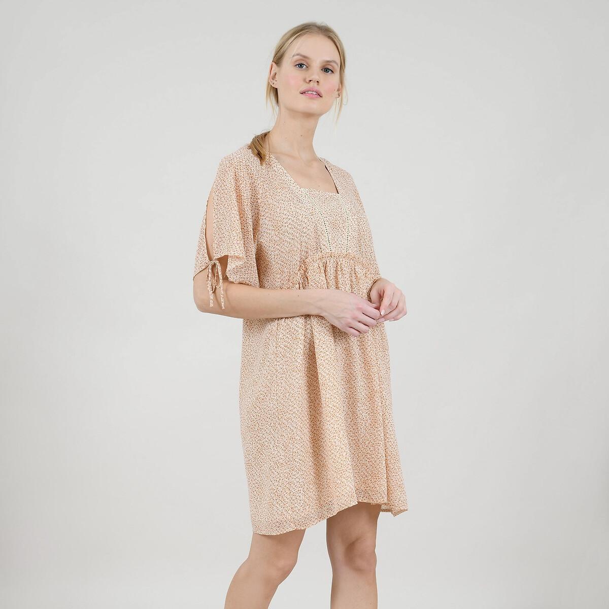 Платье La Redoute Короткое расклешенное с цветочным рисунком и глубоким вырезом сзади XL розовый