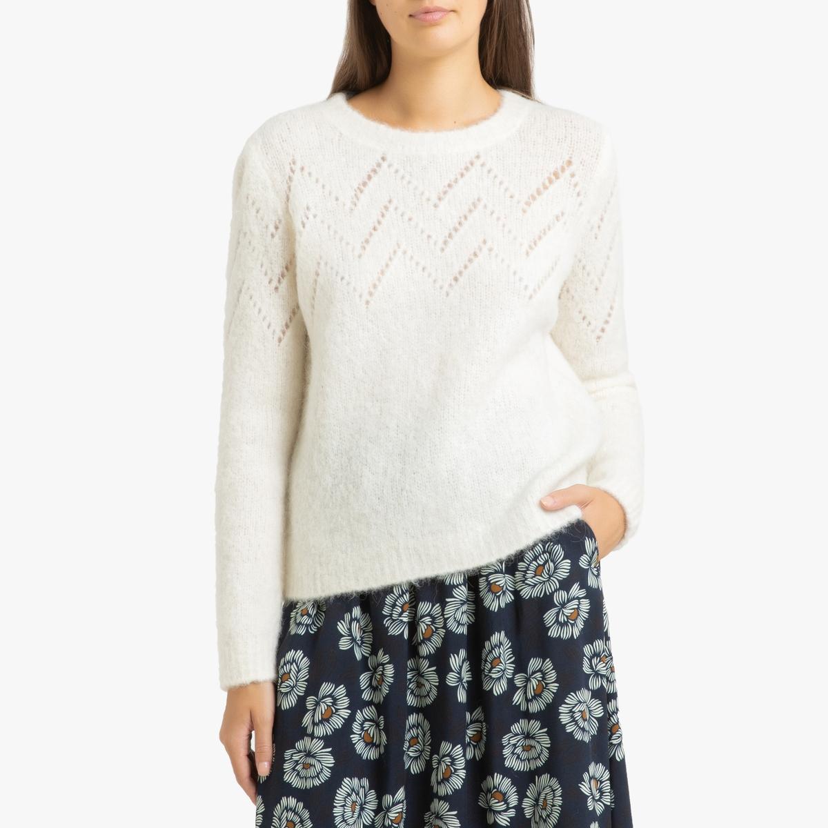 Пуловер La Redoute С круглым вырезом из ажурного трикотажа MANDALA 3(L) бежевый