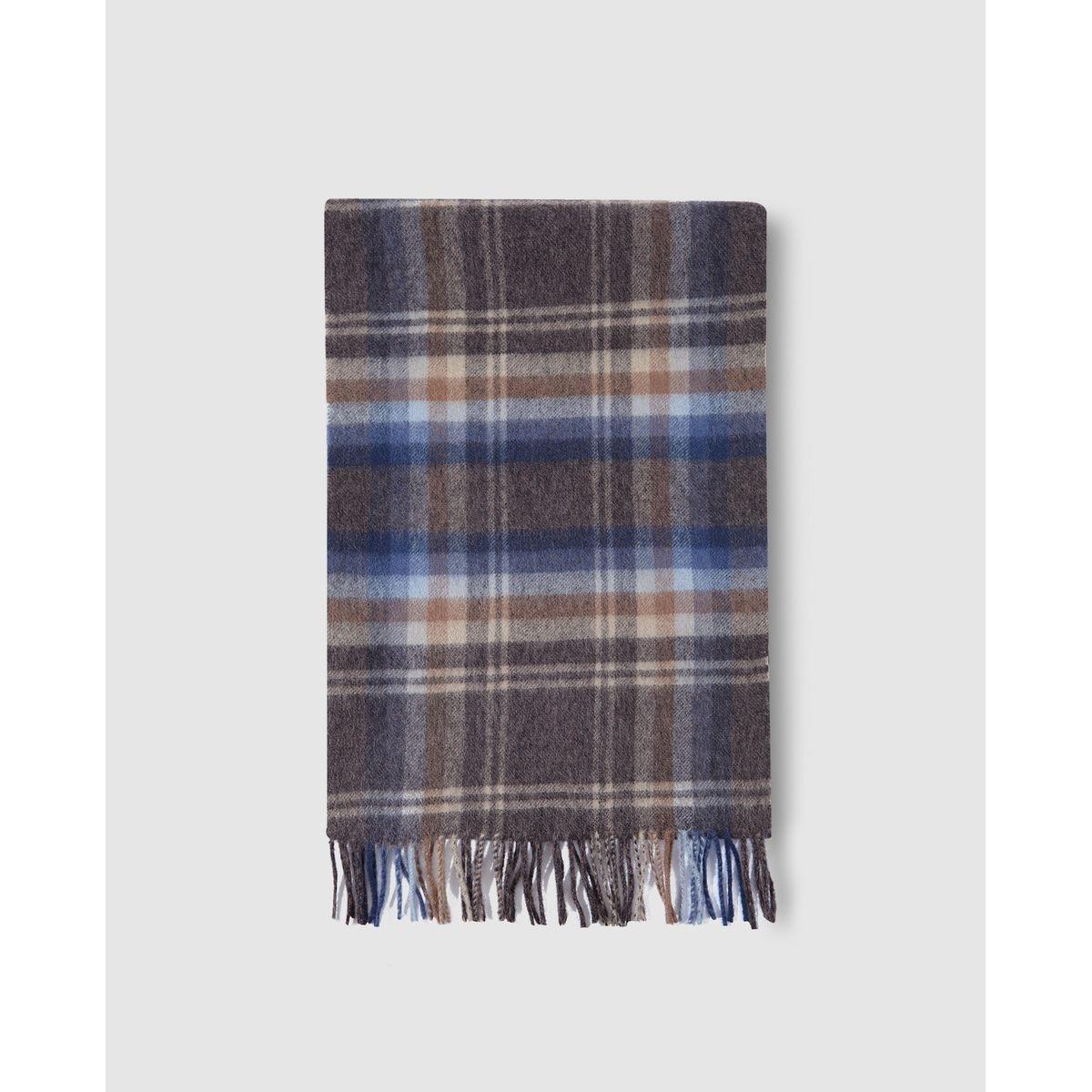 Écharpe en laine Lloyd's à carreaux gris et camel