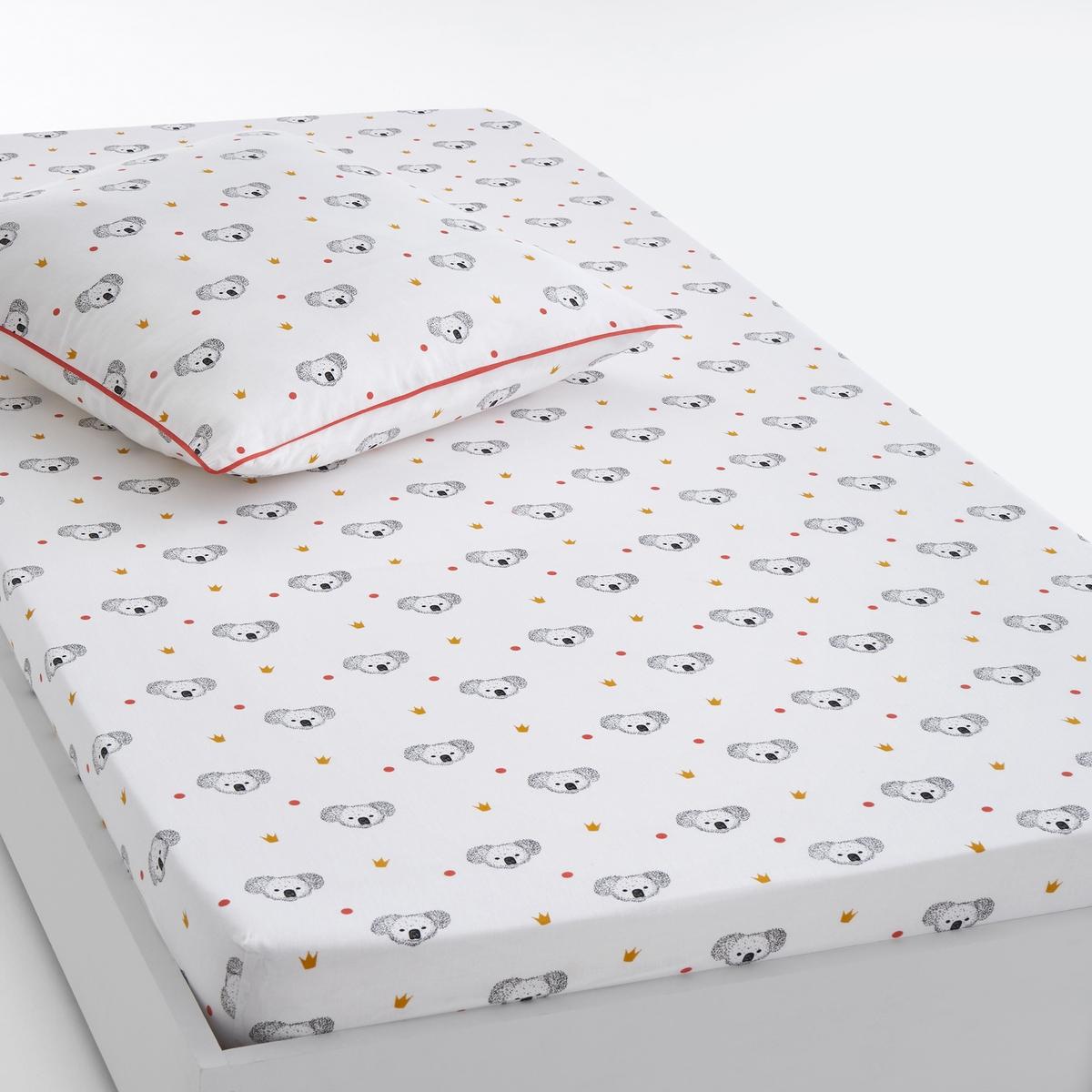 Простыня натяжная с рисунком KOALAНатяжная простыня с рисунком Koala. Детям придется по душе это красивое постельное белье в горох с рисунком короны и коалы !Характеристики натяжной простыни с рисунком Koala:100% хлопок, 57 нитей/cм?   : чем больше количество нитей на см?, тем выше качество материала.Сплошной принтЛегкость ухода.Машинная стирка при 60 °C.Всю коллекцию постельного белья Koala вы можете найти на сайте laredoute.ru.Знак Oeko-Tex® гарантирует, что товары прошли проверку и были изготовлены без применения вредных для здоровья человека веществ. Размеры :90 x 140 см : раскладная кровать90 x 190 см : 1-сп.<br><br>Цвет: белый/ черный<br>Размер: 90 x 190  см