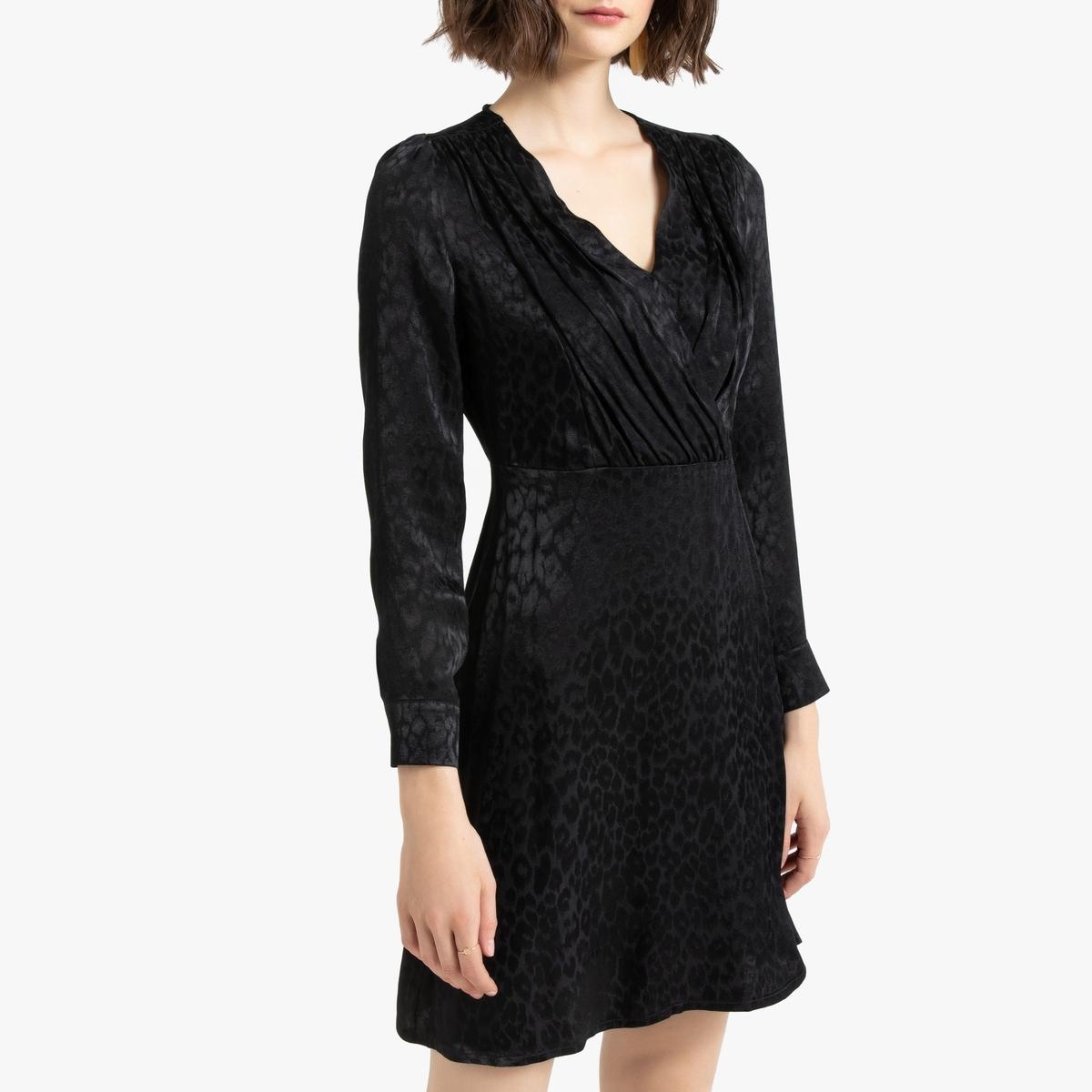 Платье La Redoute С запахом короткое с длинными рукавами 40 (FR) - 46 (RUS) черный
