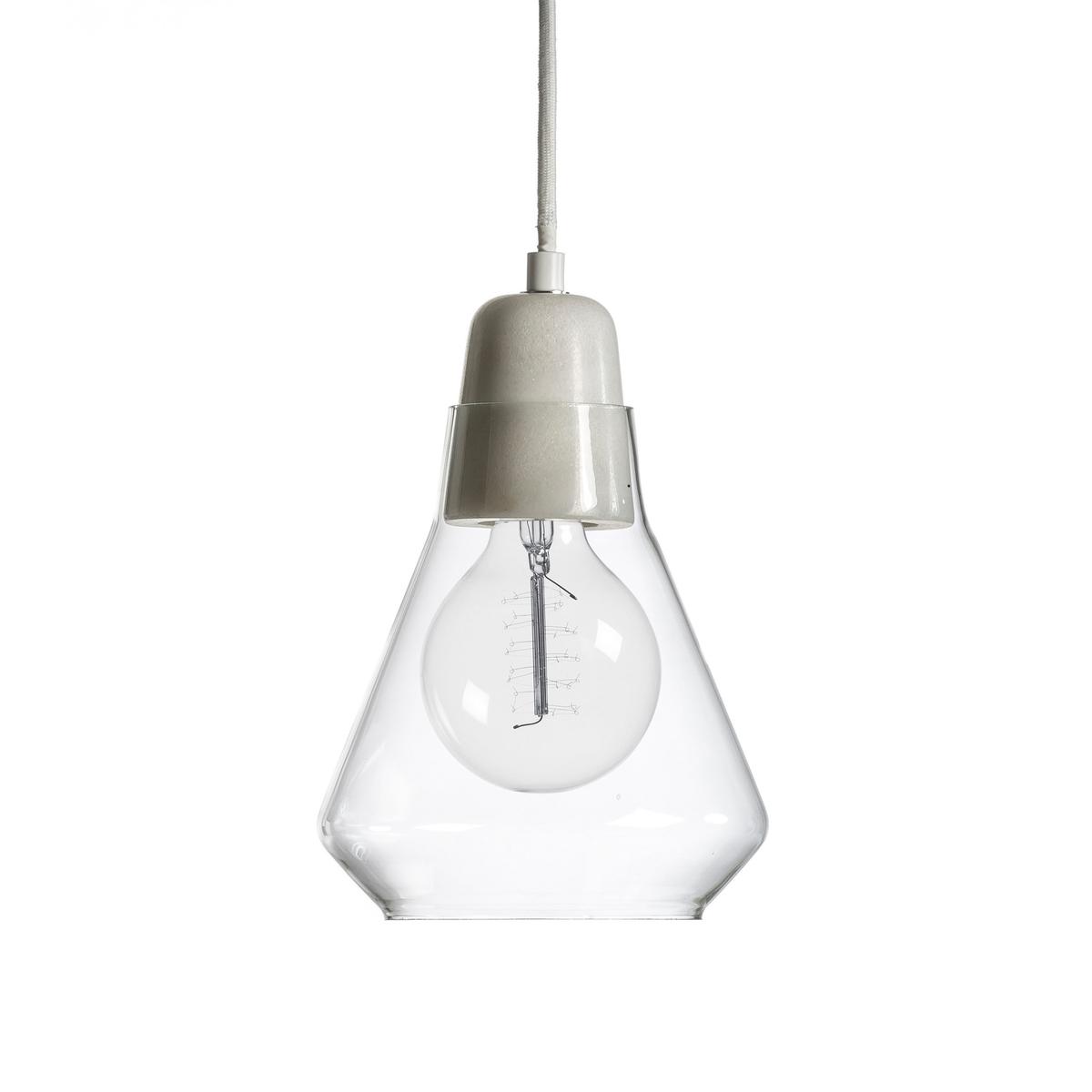 Светильник из стекла и мрамора AnaxagoreХарактеристики :- Патрон E27 для флюокомпактной лампочки 15W (не входит в комплект)  - Электрический кабель с текстильным покрытием длина 1 м - Совместима с лампочками электрического класса  A. Размеры :Диаметр 18 x высота 20.3 см<br><br>Цвет: белый мрамор,черный