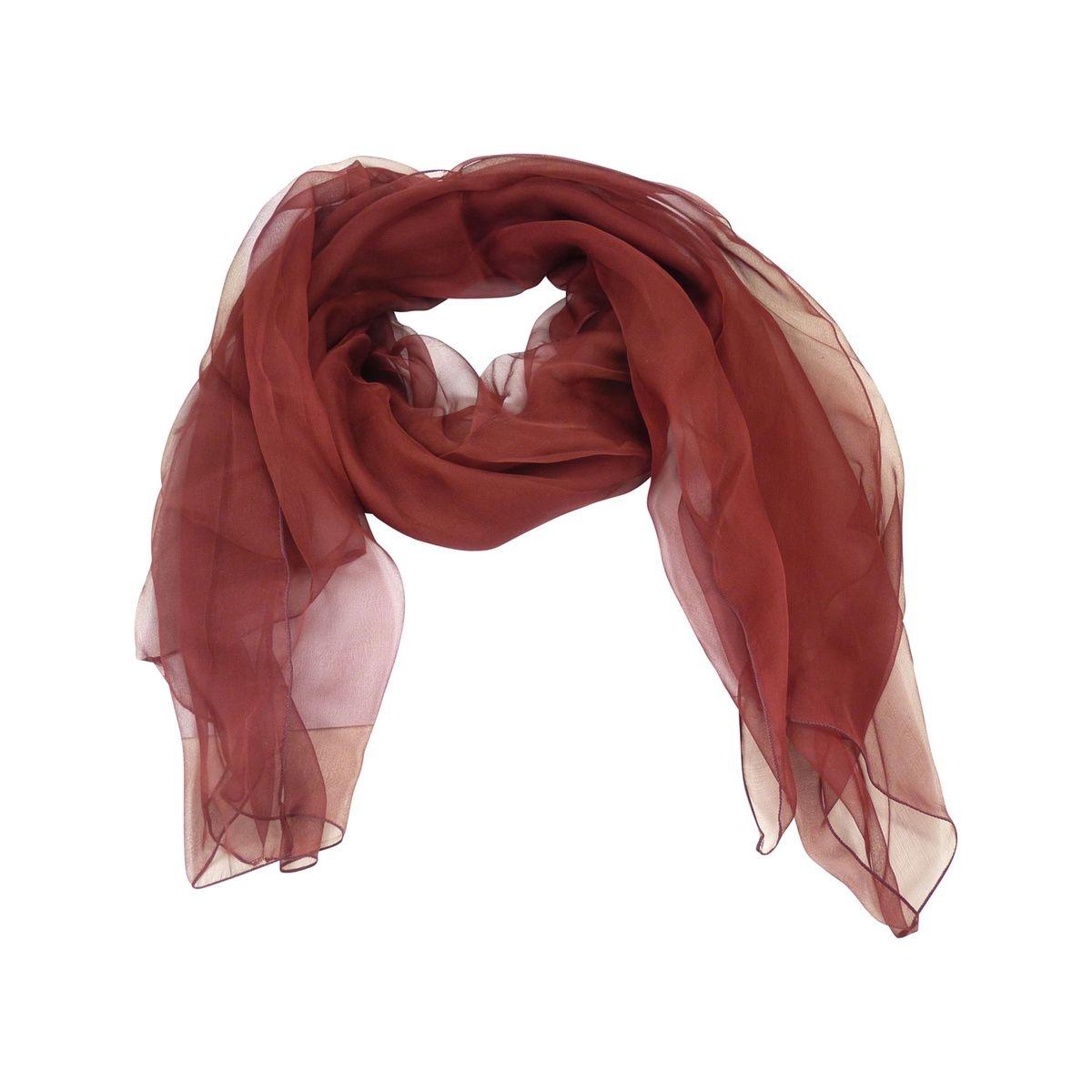 Foulard uni en soie femme rouge