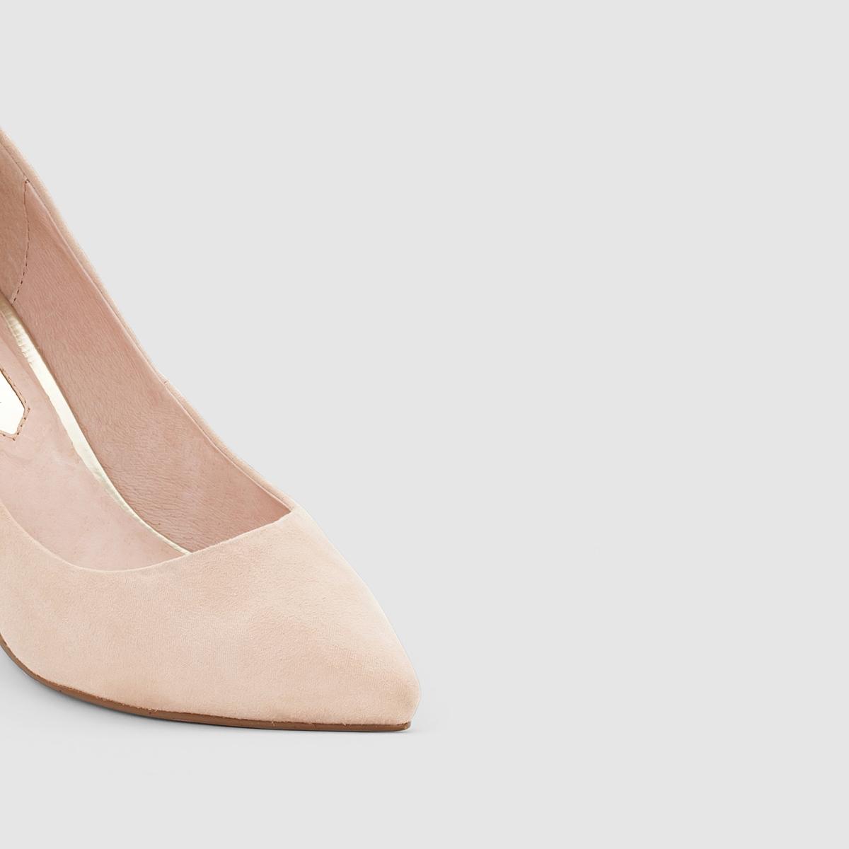 Туфли из нубукаДетали  •  Каблук-шпилька, высота 5 см •  Застежка : без застежки •  Заостренный мысок •  Велюровая отделка, нубукСостав и уход  •  Верх 100% синтетический материал •  Подкладка 100% кожа<br><br>Цвет: бежевый<br>Размер: 37