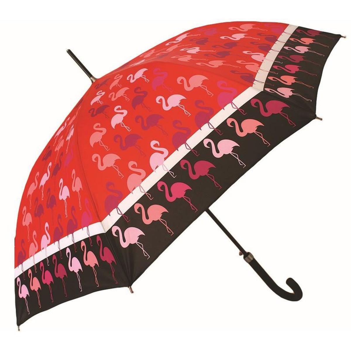 Parapluie NEYRAT Autun - Motif Flamants rose - Long - Rouge