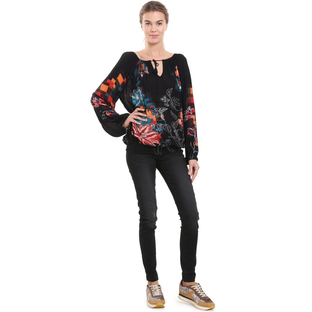 Блузка с вырезом-лодочка, цветочным принтом и длинными рукавами