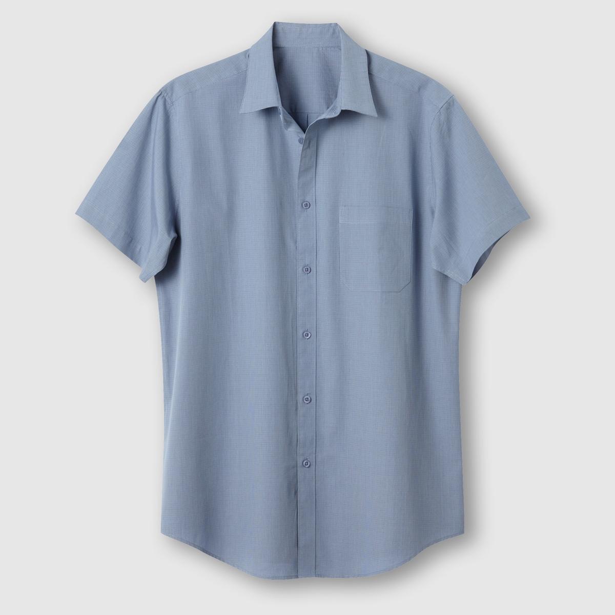 Рубашка с короткими рукавами, рост 3 (свыше 1,87 м)Рубашка с короткими рукавами.  Из оригинального поплина в полоску или в клетку с окрашенными волокнами. Воротник со свободными уголками. 1 нагрудный карман. Складка с вешалкой сзади. Слегка закругленный низ. Поплин, 100% хлопок. Рост 3 (при росте свыше 1,87 м) : длина рубашки 87 см, длина рукава 24 см.<br><br>Цвет: в клетку серый/синий,в полоску бордовый/белый