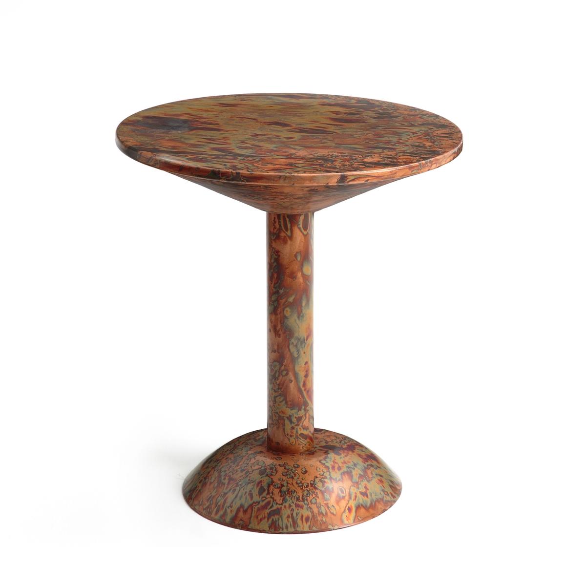 Столик журнальный с эффектом окисленной меди Dorim?neЖурнальный столик Dorim?ne. Уникальный и оригинальный столик в форме перевернутого винного бокала с эффектом окисленной меди! Каждое изделие уникально  .Описание : -  Из железа с эффектом окисленной медиРазмеры : - ?45 x В50 см<br><br>Цвет: Оксид меди