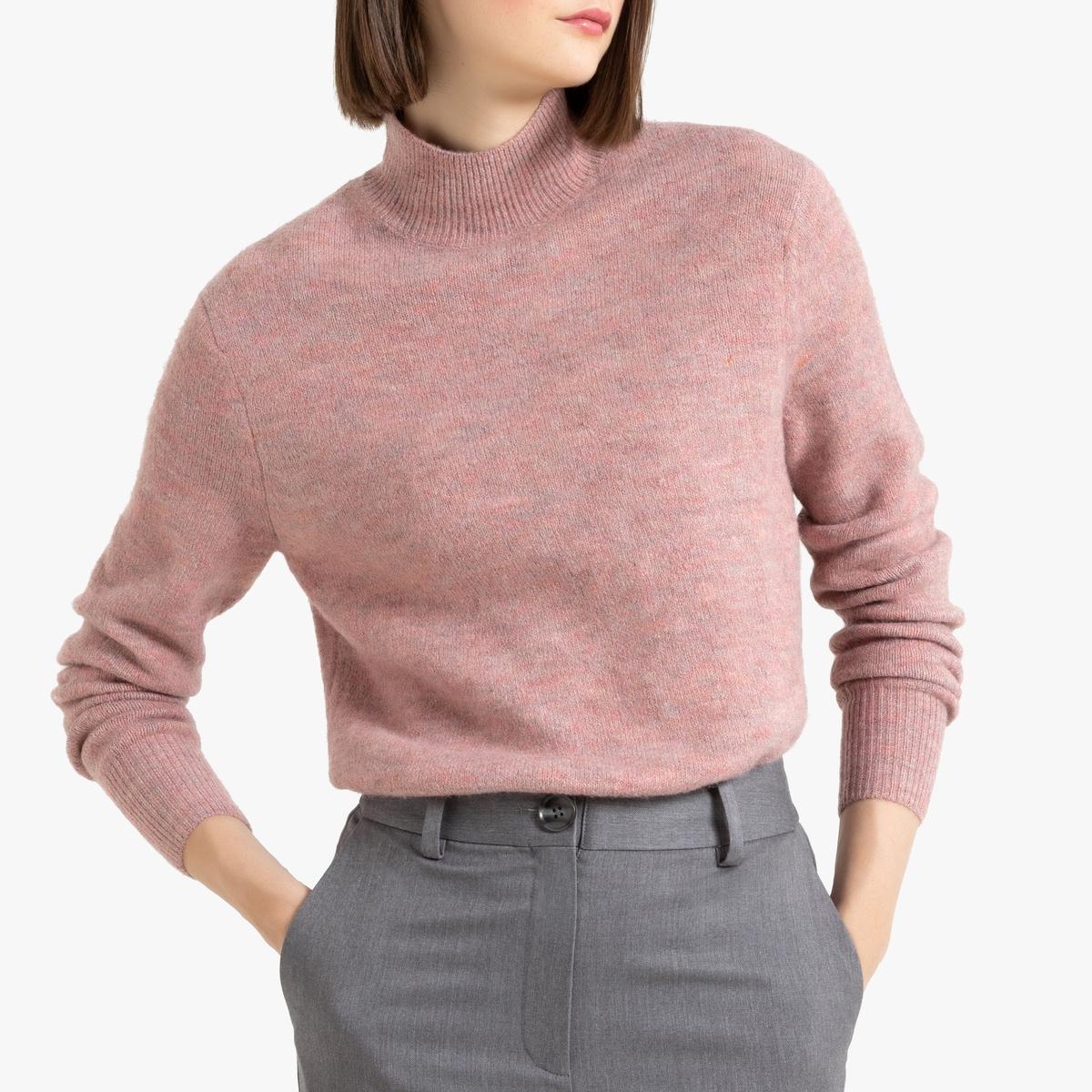 Пуловер La Redoute С воротником-стойкой из трикотажа мулине S розовый кардиган la redoute из трикотажа мулине s розовый