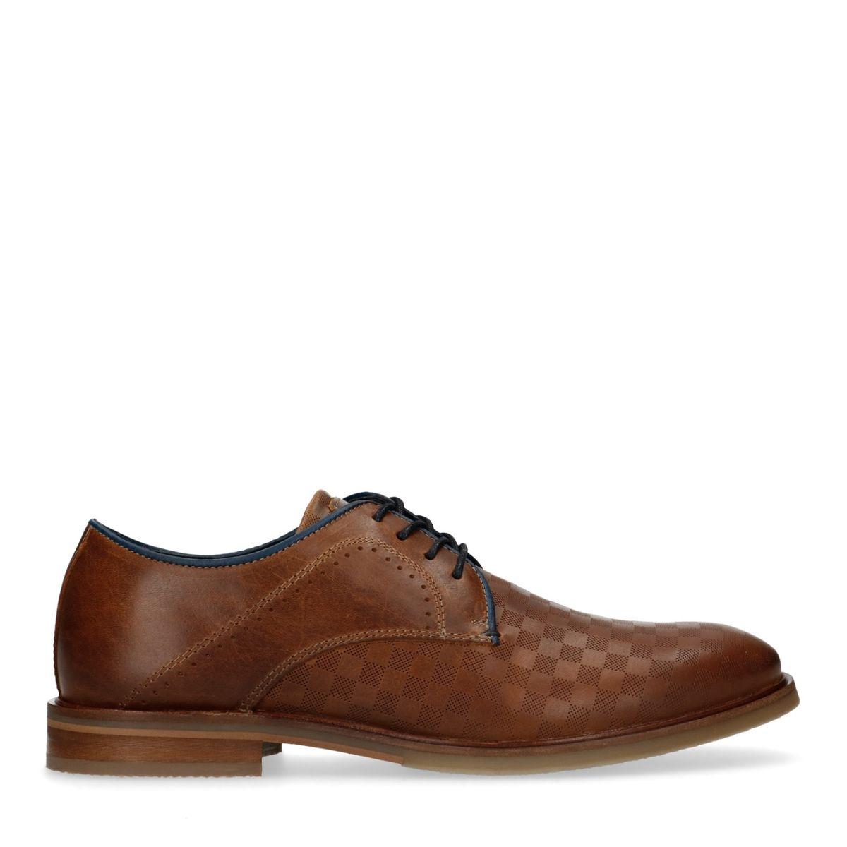 Chaussures à lacets en cuir avec imprimé carreaux