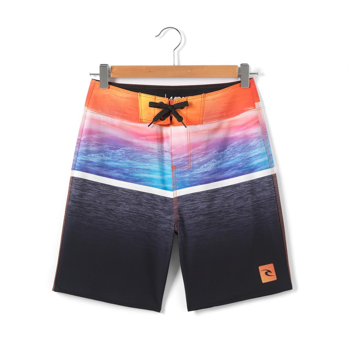 Шорты пляжные в разноцветную полоску 8-16 летШорты пляжные в разноцветную полоску . Плоский пояс на шнурке . Логотип RIP CURL спереди  . Карман с клапаном на застежке-велкро сзади . Состав и описание : Материал       100% полиэстерДлина    43 см Марка: RIP CURLУход :- Машинная стирка при 30°C с вещами схожих цветов.Стирать, предварительно вывернув на изнанку.Машинная сушка запрещена.Не гладить.<br><br>Цвет: черный + розовый<br>Размер: 10 лет - 138 см