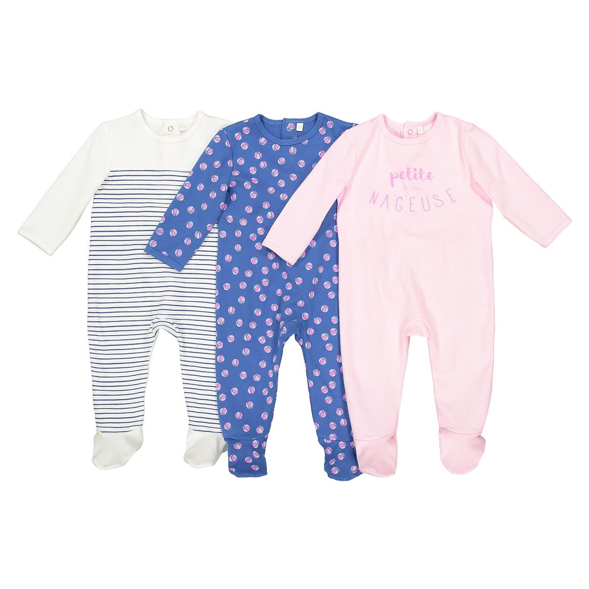 Комплект из 3 пижам из хлопка, 0 мес. - 3 годаОписание:Комплект из 3 пижам из ткани интерлок с носочками. Комфорт и мягкость каждую ночь. Застежка на кнопки сзади.Детали •  Комплект из 3 пижам : 1 пижама с рисунком + 1 пижама с набивным рисунком + 1 пижама в полоску. •  Длинные рукава. •  Круглый вырез. •  Носки с противоскользящими элементами для размеров от 12 месяцев  (74 см). Состав и уход •  Материал : 100% хлопок. •  Стирать с вещами схожих цветов при 40° в обычном режиме. •  Стирать и гладить с изнанки при низкой температуре. •  Деликатная сушка в машинке.<br><br>Цвет: синий + розовый + белый