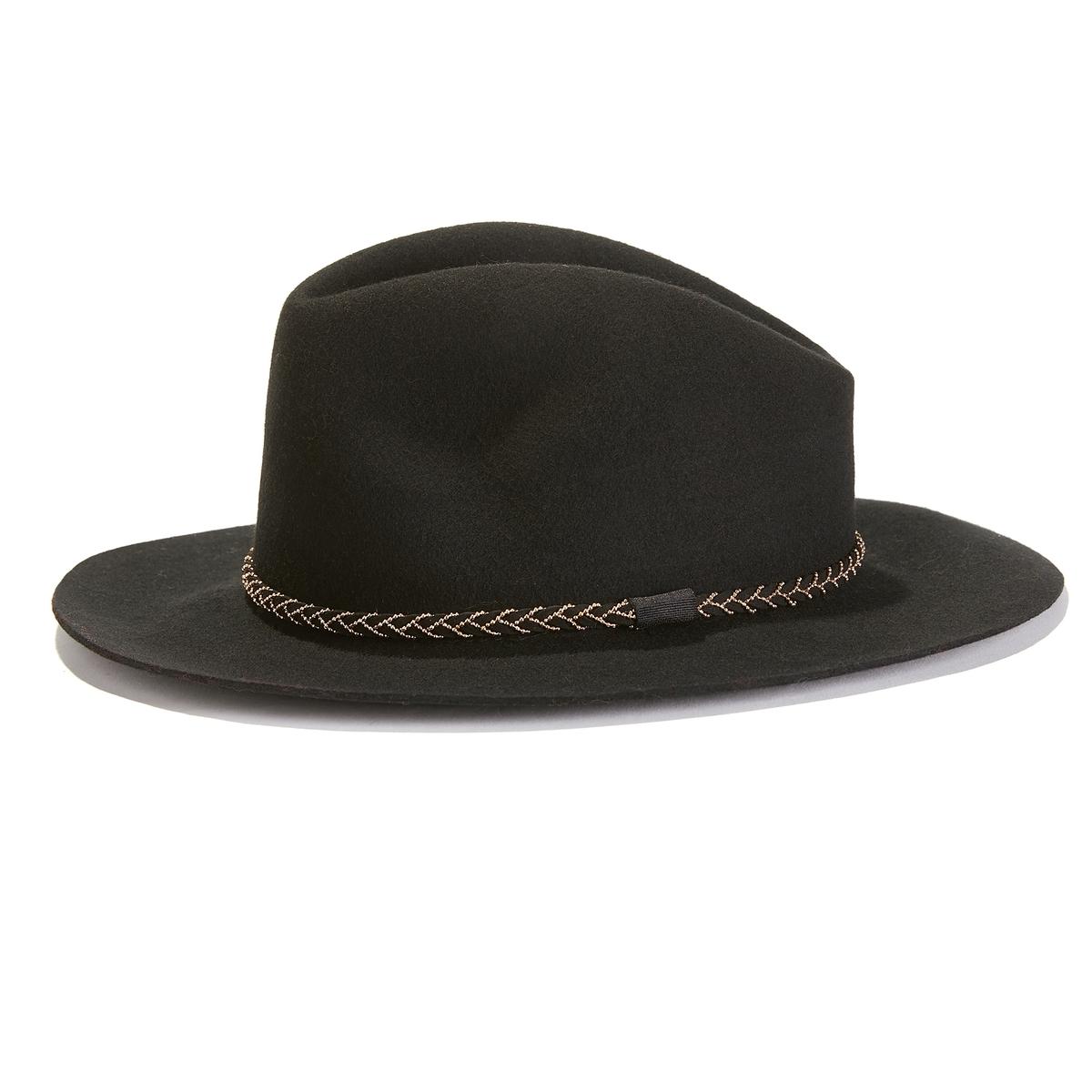 Шляпа фетровая с плетеной тесьмой